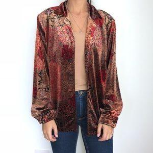 Vintage Sag Harbor velvet button down blouse L